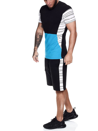 Flavy Shirt + Short  Ensemble - Black White Blue X64B