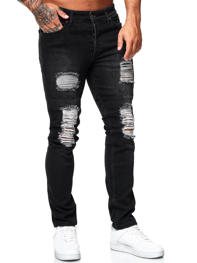 Rezo Ripped Distressed Jeans - Black X65