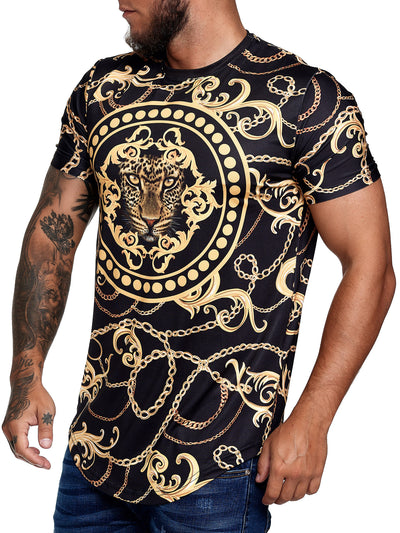 Chained Leo Graphic T-Shirt - Black Gold  X67A