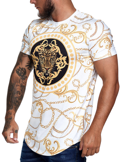 Chained Leo Graphic T-Shirt - White Gold  X67B
