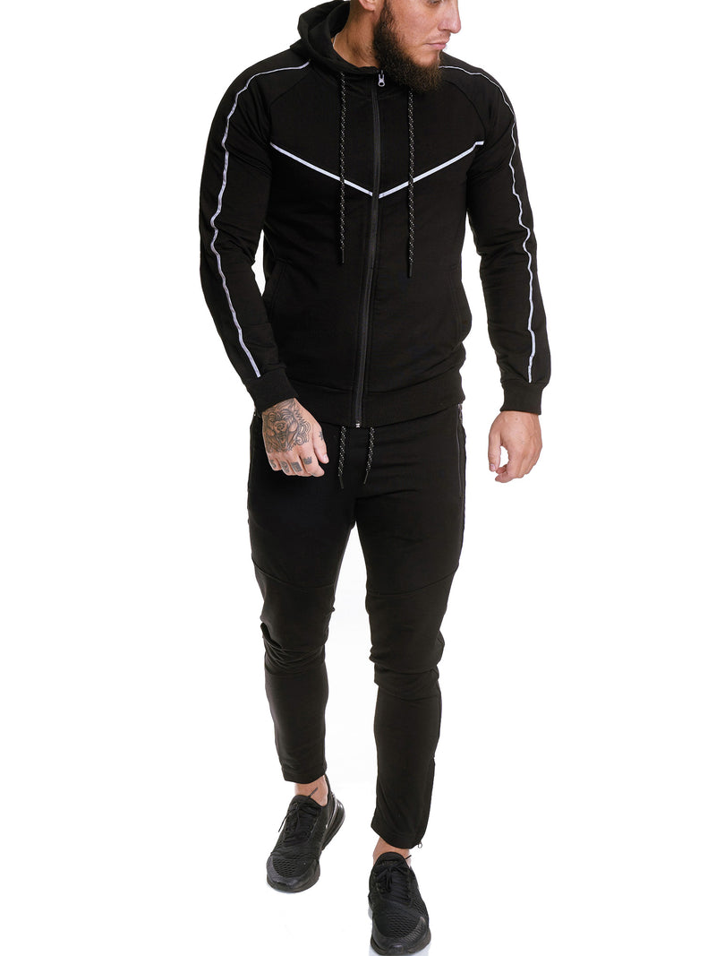 Sampu Refelctive Hoodie TrackSuit - Black X69A