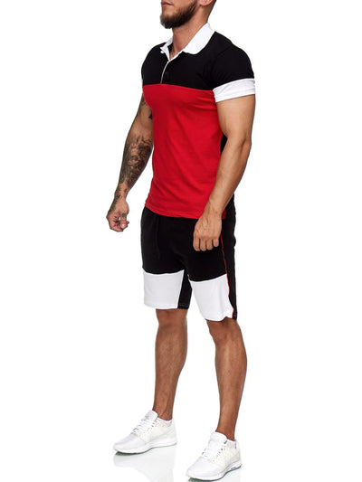 Triko Shirt + Short  Ensemble - Black White Red X6A
