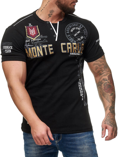 """Monte Carlo"" Print Graphic V-Neck T-Shirt - Black X79A"