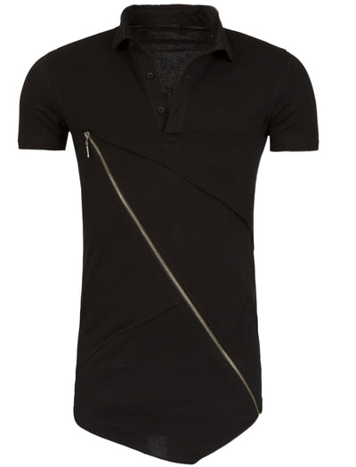 Y&R Men Asymmetrical Cross Zipper Polo Shirt - Black