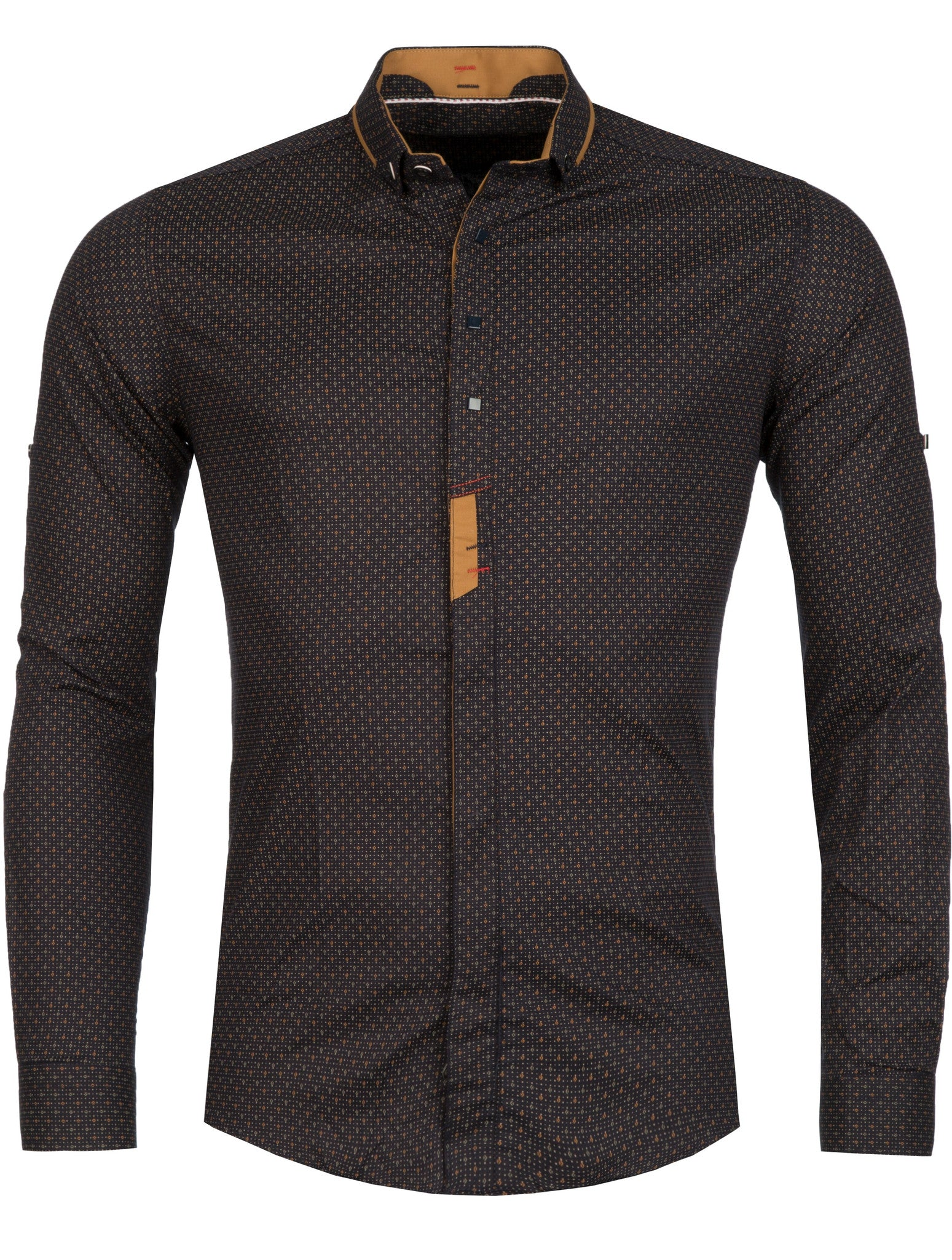 Y&R Men Casual Plane Button Up L/S Shirt - Navy / Brown