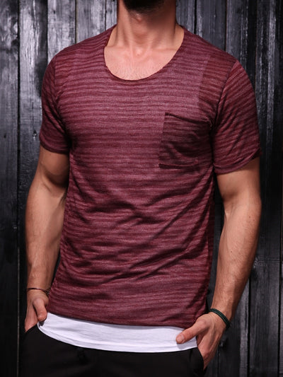 K&B Men C Thru Stripes Pocket T-shirt - Burgundy - FASH STOP