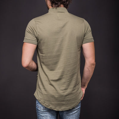 N&R Men NoSo Paint Stains Polo Collar T-shirt - Army Green