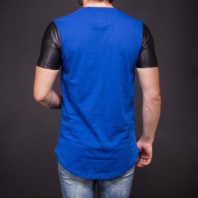 "N&R Men ""Unleashed Guns"" Faux Leather Sleeves T-shirt - Blue"
