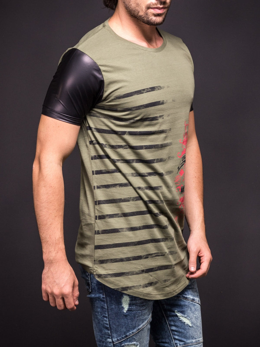 "N&R Men ""Unleashed Guns"" Faux Leather Sleeves T-shirt - Army Green"