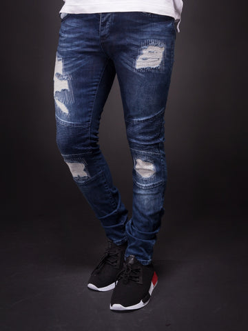 D&H Men Skinny Fit Motor Biker Distressed Jeans - Blue