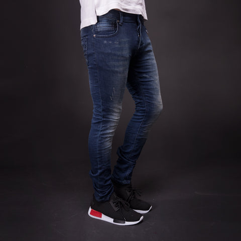 2Y Men Slim Fit Simlight Distressed Jeans - Blue