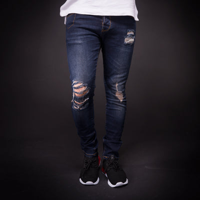 2Y Men Slim Fit Pock Ripped Destroyed Jeans - Dark Blue - FASH STOP