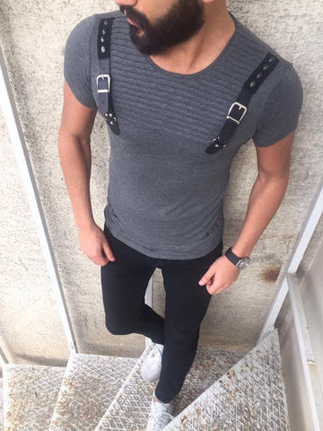 E1 Men Faux Leather Buckle Ribbed T-shirt - Heather Gray