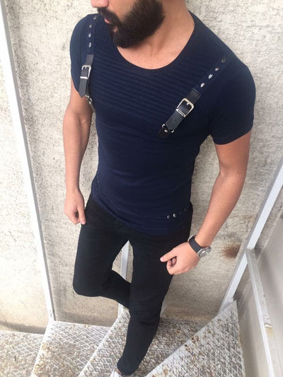 E1 Men Faux Leather Buckle Ribbed T-shirt - Navy Blue - FASH STOP