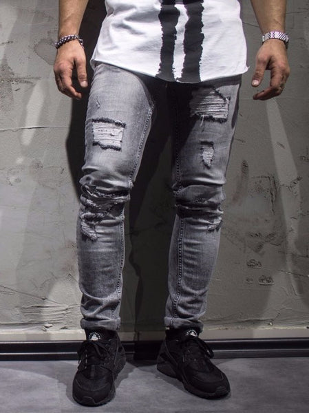 ADJ Men Slim Fit Mis Ripped Destroyed  Jeans - Gray