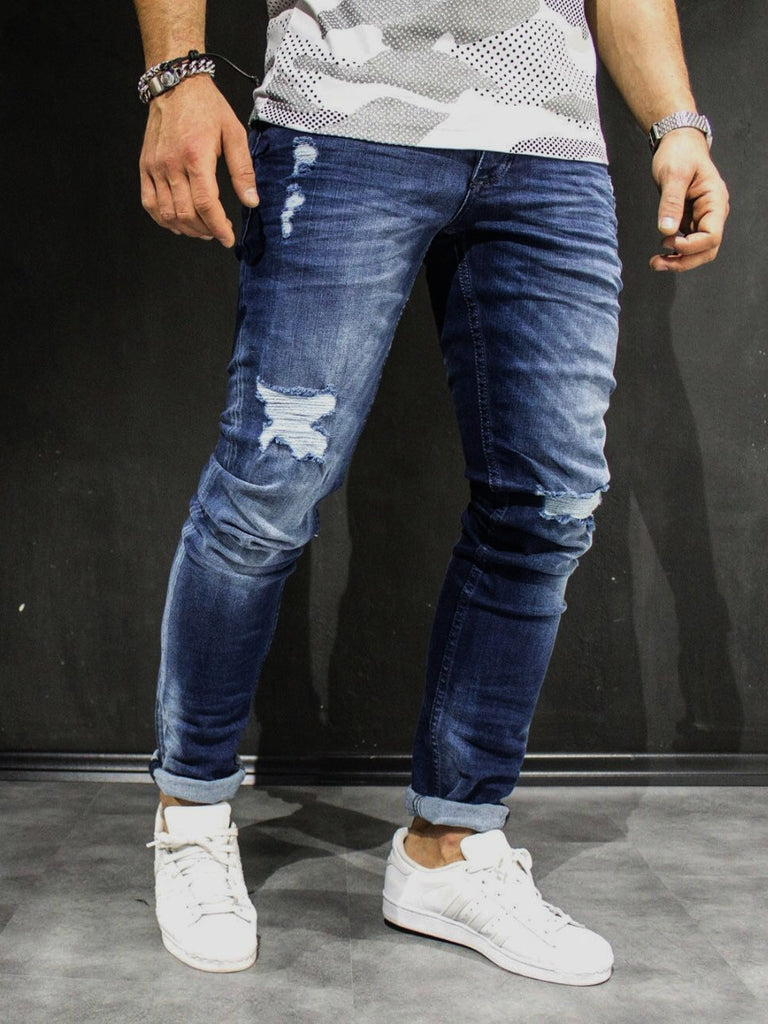 Men Slim Fit Simply Ripped Jeans Blue