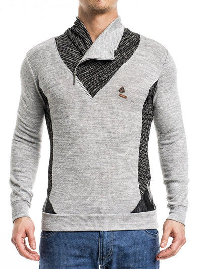 K&D Men Stylish 2 Tone Mock ZIipper Neck  Sweater - Gray - FASH STOP