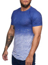 Bluer Stripes All Overt Print Graphic T-Shirt - Blue  X0012 - FASH STOP
