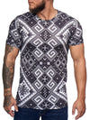 Pix All Overt Print Graphic T-Shirt - Black White  X0011