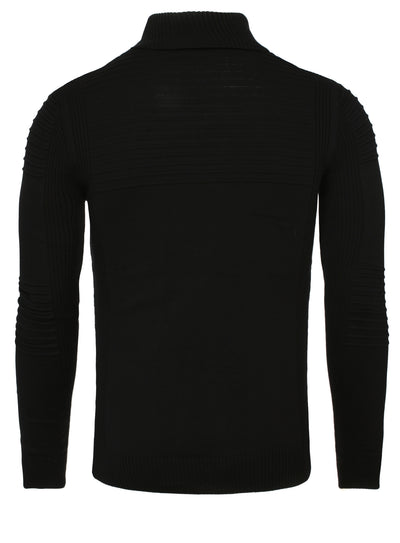 R&R Men Stylish Turtle Neck Ribbed Sweater - Black
