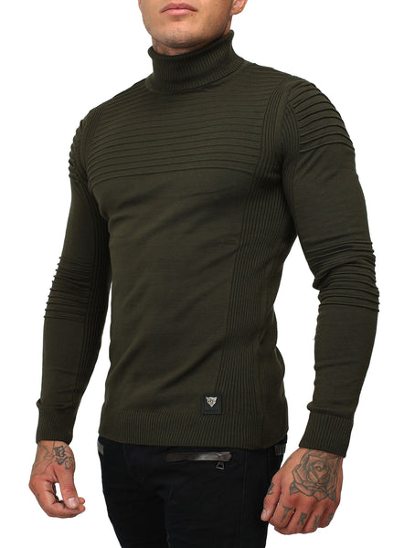 R&R Men Stylish Turtle Neck Ribbed Sweater - Green