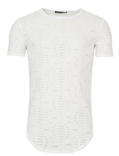 Y&R Mock Holes Perforated Poly T-Shirt - Off White