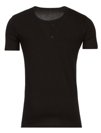 Y&R Men 1 Side Perforated Holes Slit T-Shirt - Black