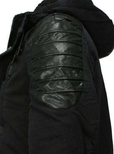 Y&R Men Stylish Mid Length Jacket Faux Leather Coat 2- Black