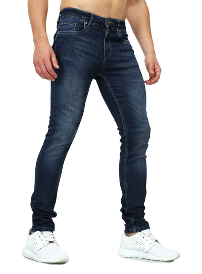 Men Slim Fit Clean Jeans - Blue