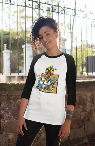 African-America women wearing a white shirt with a 3/4 sleeve. The sleeve and color of the shirt is black. The design on the shirt is the ablegamers joystick logo with video game characters coming out of the logo busting into the body of the shirt. The body of the shirt is white.