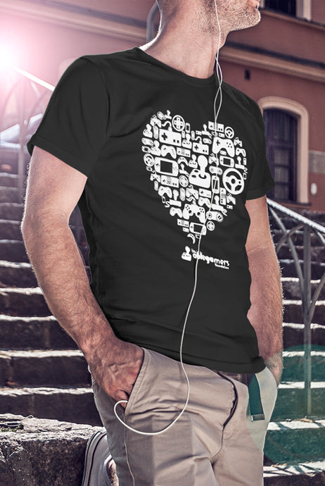 A black tshirt with a large heart design in the center. The large heart design includes many different types of game controllers. The text