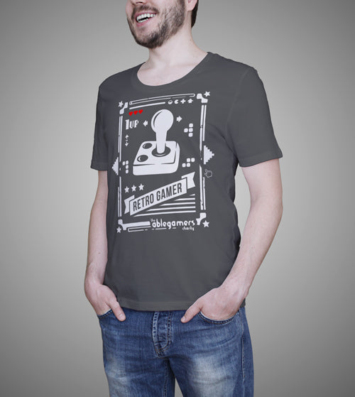 A white joystick on a gray shirt with the text
