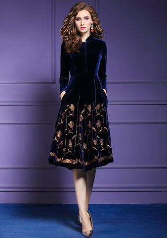 Women Autumn & Winter Elegant Sequin Velvet Dress Blue