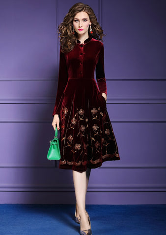 Women Autumn & Winter Elegant Sequin Velvet Dress