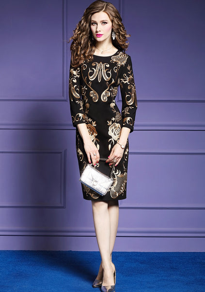 Women Autumn Elegant Embroidery Office Dress
