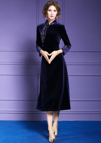 Women Winter Elegant Embroidery Velvet Dress Navy Blue