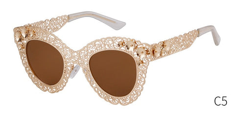 Luxury Oversized Cat Eye Sunglasses Women Floral Design