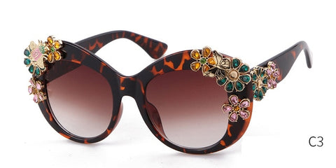 Oversized Diamond Sunglasses Women Luxury Brand Designer Retro Vintage
