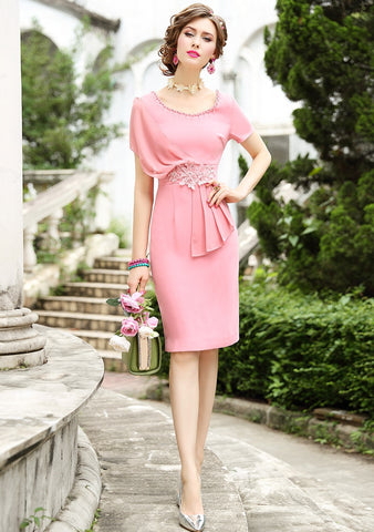 Women Elegant Beading Pink Dress