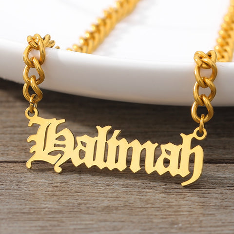 Custom Gothic Old English Nameplate Necklace For Women Stainless Steel