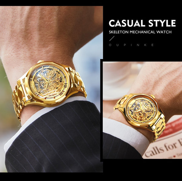 OUPINKE Luxury Men Watches Gold Skeleton Mechanical Watch Men Automatic Sapphire Glass Stainless Steel