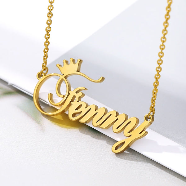 Custom Name Crown Necklace Nameplate Necklace For Women Personalized Stainless Steel