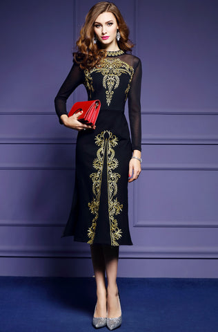 Women Autumn Luxury Embroidery Dress High Quality Designer