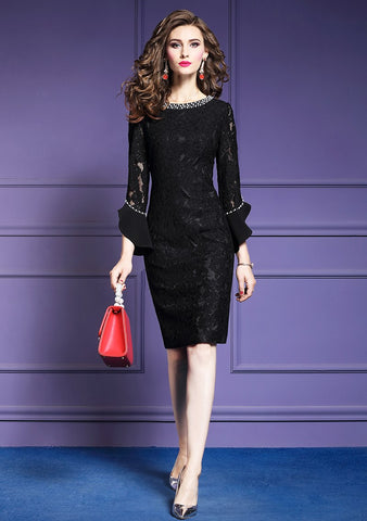 Women Elegant Beading Lace Dress