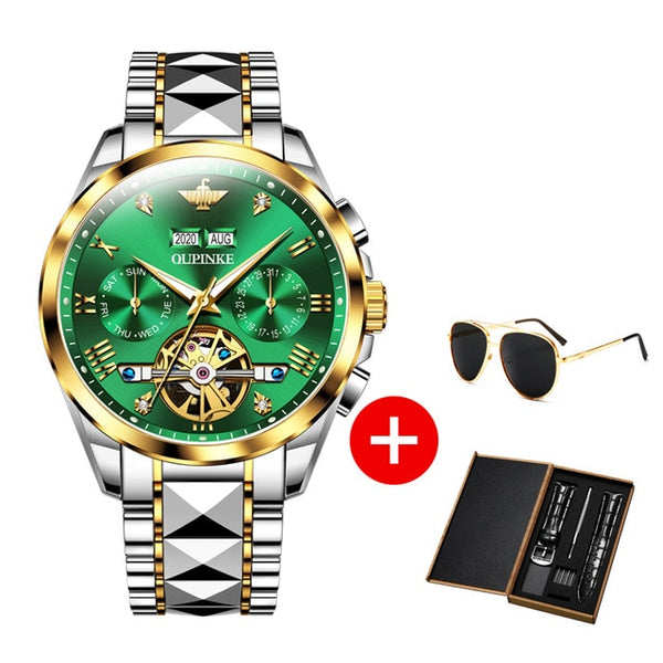 OUPINKE Luxury Men Watch Chronograph Automatic Mechanical Watches