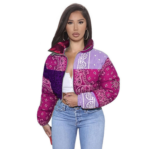 Printed Bubble Jackets For Women Winter Fashion S-XL Purple
