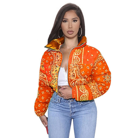 Printed Bubble Jackets For Women Winter Fashion S-XL Orange