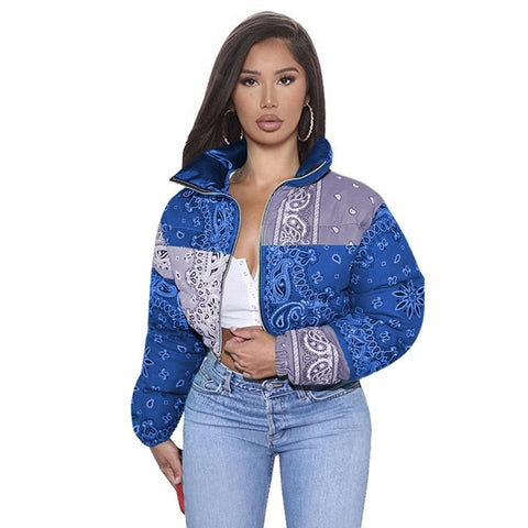 Printed Bubble Jackets For Women Winter Fashion S-XL BLue