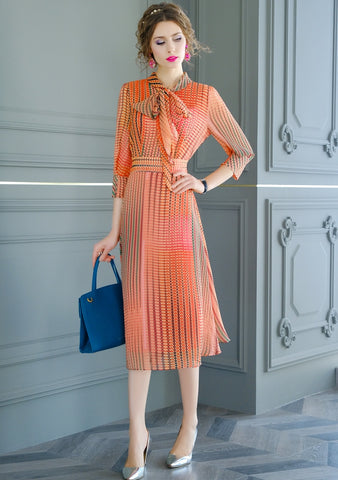 Women Spring & Summer Elegant Chiffon Dress Color Orange