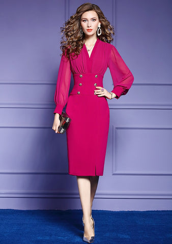 Women Elegant V-neck Pencil Dress